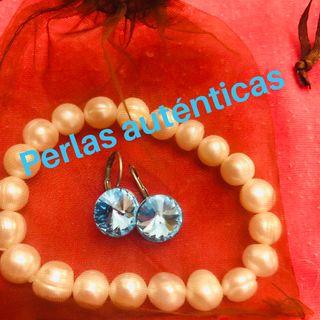conjunto pendientes y pulsera perlas naturales