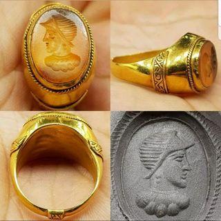 selló de 22 quilates y Ágata ( romano)