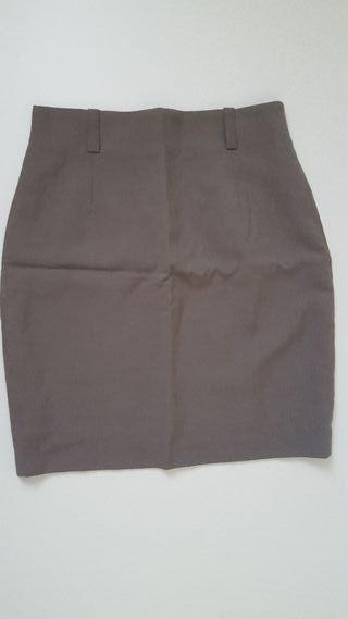 Falda de traje marrón