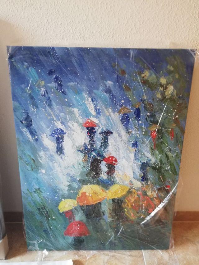 Cuadro moderno abstracto a oleó - Paraguas