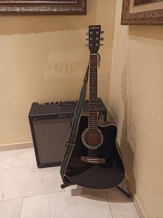 Guitarra electroacústica con previo