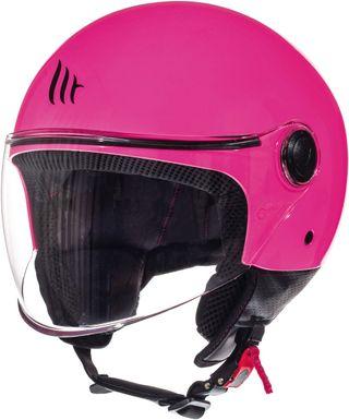 Casco moto jet MT street rosa fluor