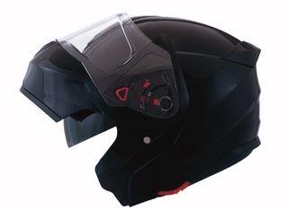 Casco moto modular shiro 507 negro brillo