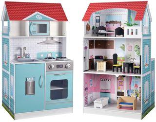 Casa de muñecas y cocina de madera 2 en 1 NUEVA