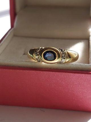 anillo oro 18kt zafiro y diamantes