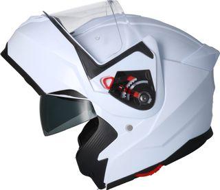 Casco moto modular shiro 507 blanco brillo