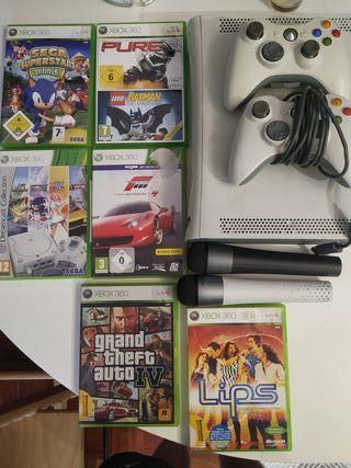 Xbox 360 + 2 mandos + 6 juegos + 2 micrófono