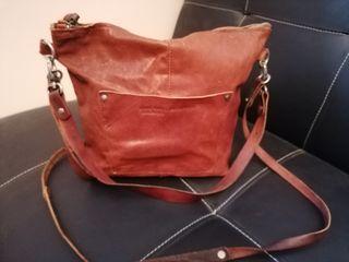 Bolso Hakei color coñac/bolso mochila de piel