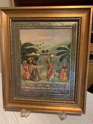 Cuadro hindú, Arte Mughal. 36x31 Antiguo