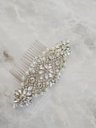 Peineta de cristal novia tocado boda invitada
