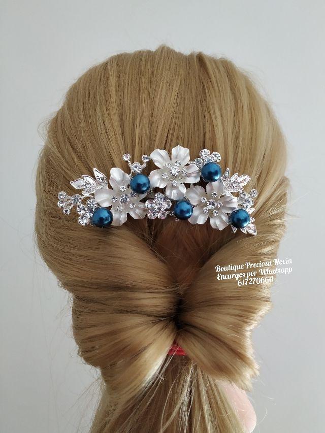 Tocado tono azul marino y plata tiara novia joya
