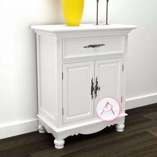 Gabinete de madera con 2 puertas y un cajón blanco