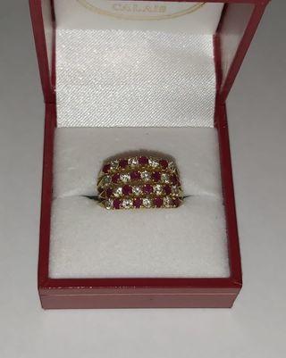4 anillos en 1 oro 18kt Rubí y circonita