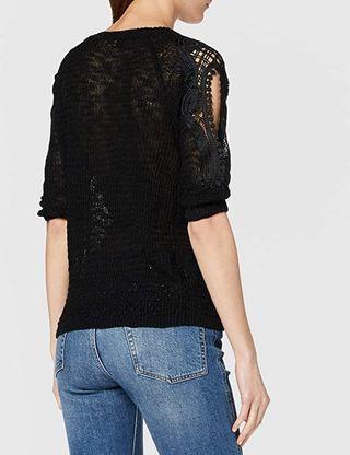 Jersey azul Molly Bracken, hombros crochet. TU.