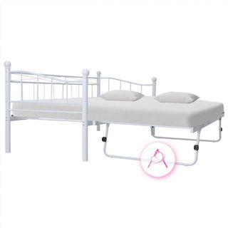 Estructura de cama de acero blanca 180x200/90x200