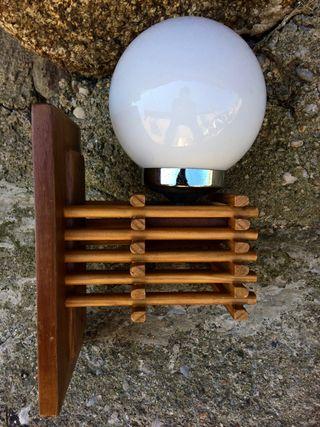 Aplique lampara vintage bambu ratan 1960