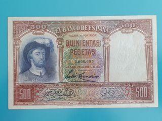 Billete de 500 pesetas de 1931. Número muy bajo.