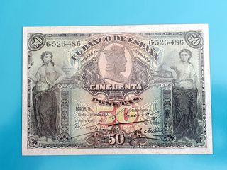 Billete de 50 pesetas 1907. Restaurado