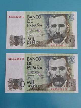 Pareja consecutiva billetes 1000 pesetas 1979.