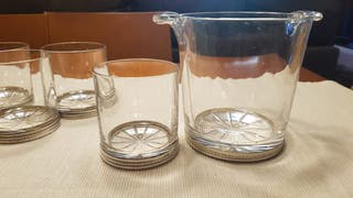 cristaleria. juego de cubitera y vasos wisky