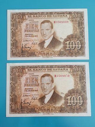 Pareja consecutiva billetes 100 pesetas 1953.