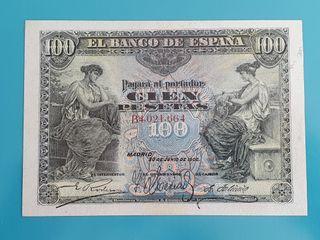Billete de 100 pesetas de 1906. Alegorías.