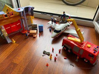Playmobil avion, camión y estación Sam bomberos