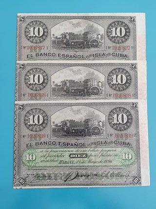 Trío billetes 10 pesos Banco Español Cuba. 1896