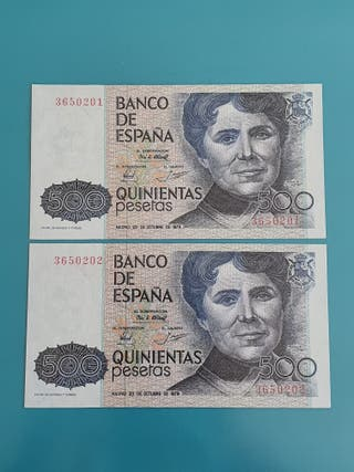 Pareja billetes 500 pesetas 1979, sin serie