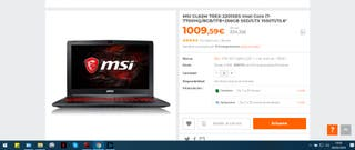 Portatil Gaming MSI SSD NVIDIA 1050 Ti 16GB i7