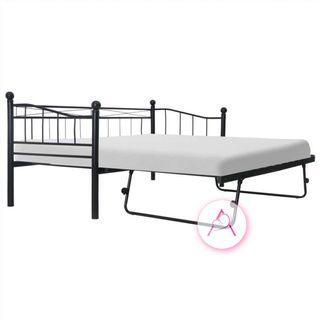 Estructura de cama de acero negra 180x200/90x200 c