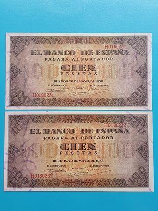 Pareja billetes 100 pesetas 1938. Última serie