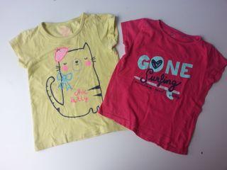 (d042) (3x2) Lote 2 camisetas niña 3-4 años