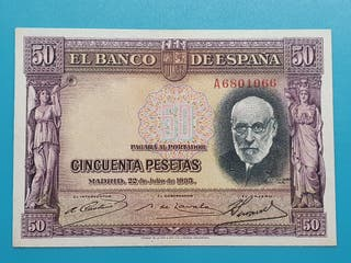 Billete 50 pesetas 1935, Serie A.