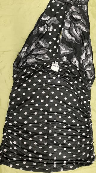 tops de dama negro con lunares cuello alto strech