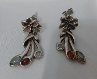 Pendientes vintage plata 925 y turmalina tricolor