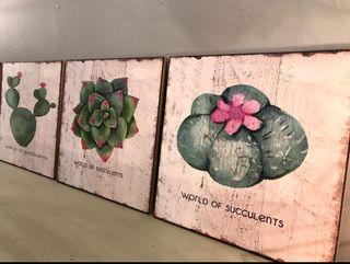 4 Cuadros madera botánicos