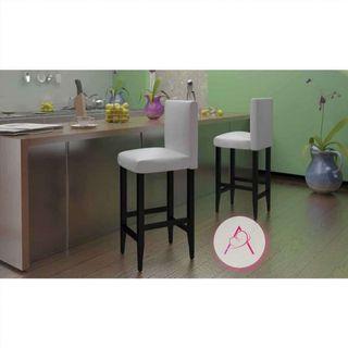 Taburetes de cocina 6 unidades cuero artificial bl