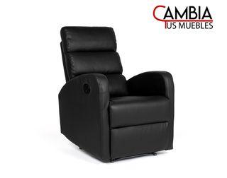 Sillón relax, GINGER reclinable polipiel Negro