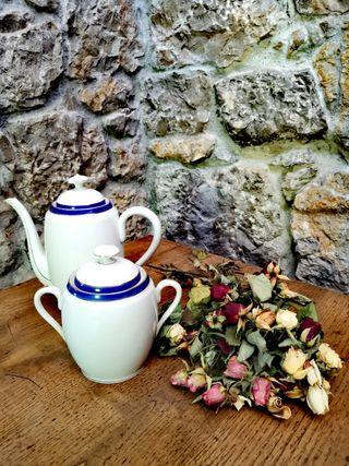 Tetera y azucarero de porcelana de Limoges