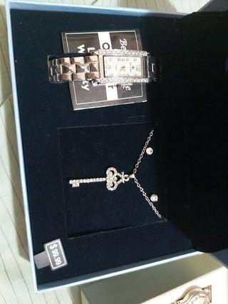 collar reloj y pendientes bell & rose