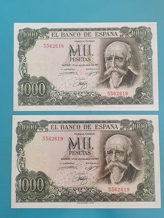 Pareja billetes 1000 pesetas 1971, sin serie.