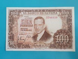 Billete 100 pesetas 1953, sin serie
