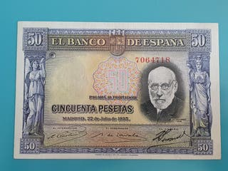 Billete 50 pesetas 1935, variante azul, sin serie