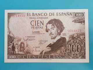 Billete 100 pesetas 1965, sin serie.