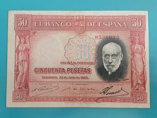 Billete 50 pesetas 1935, rojo, sin serie