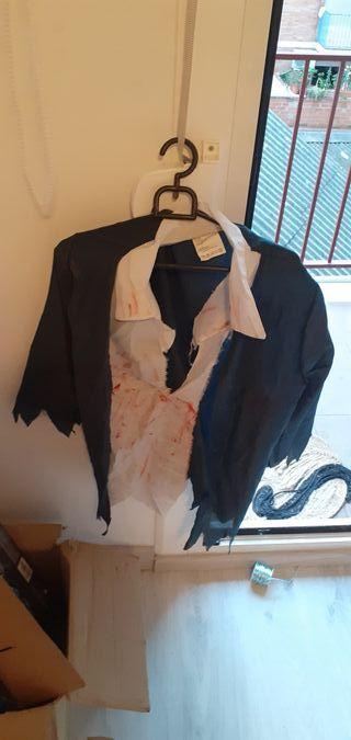 disfraz de hallowen, colegiala zombie para niña