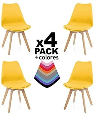 Due-Home - Beench - Pack 4 sillas Tower Madera Hay