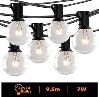 Guirnalda cadena de luces, 25 bombillas+4 repuesto