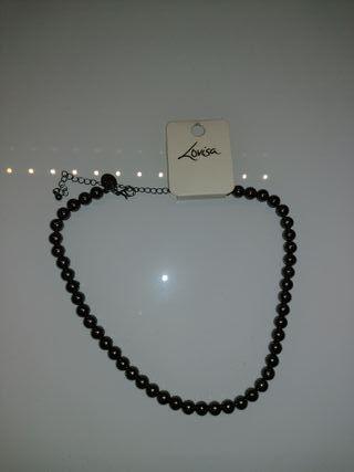 Collar NUEVO de tipo imitación de perlas negras